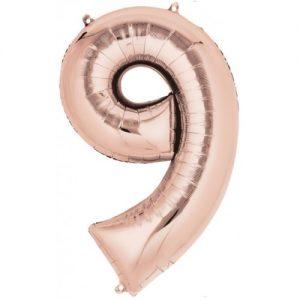 Ballon Ballonnen verjaardag cijfer 9 rosé goud Sint-Truiden Hoeselt