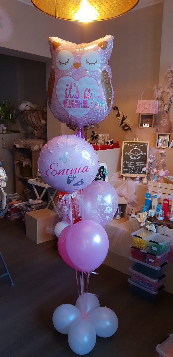 gepesronaliseerde ballon geboorte verjaardag meisje uil roze sint-truiden Hoeselt