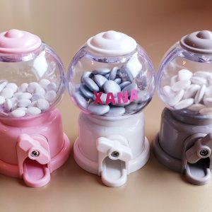 doopsuiker bedankjes geboorte babyborrel sint-truiden hoeselt snoepdispenser wit/grijs/roze